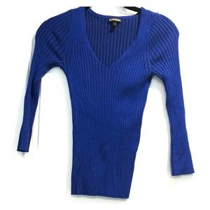 Express blue sweater V neck 3/4 sleeve Sz XS